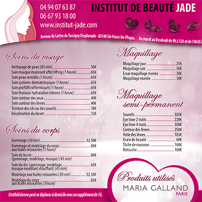 Brochure Institut de Beauté Jade